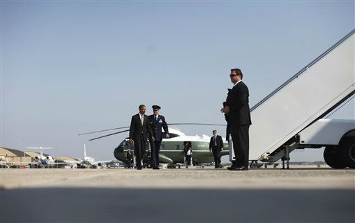 President Barack Obama prepares to board Air Force One before his departure from Andrews Air Force Base, Md., Wednesday, Sept., 14, 2011, enroute to North Carolina.  <span class=meta>(AP Photo&#47; Pablo Martinez Monsivais)</span>
