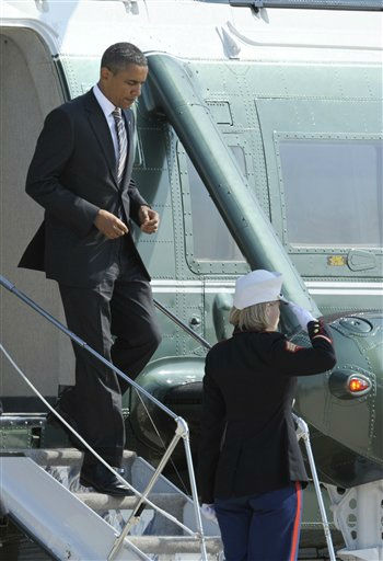 President Barack Obama walks down the stairs of Marine One before boarding Air Force One, Wednesday, Sept. 14, 2011, at Andrews Air Force Base, Md.  <span class=meta>(AP Photo&#47; Cliff Owen)</span>