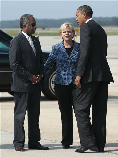 President Barack Obama talk with North Carolina Gov. Bev Perdue, center, and Durham, N.C. Mayor William Bell upon his arrival at Raleigh-Durham International Airport in Morrisville, N.C., Wednesday, Sept. 14, 2011.   <span class=meta>(AP Photo&#47; Pablo Martinez Monsivais)</span>