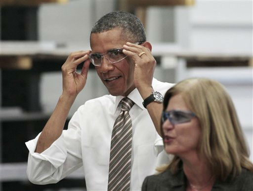 "<div class=""meta image-caption""><div class=""origin-logo origin-image ""><span></span></div><span class=""caption-text"">President Barack Obama dons safety glasses as he tours WestStar Precision Facility with owner Susan Portman, Wednesday, Sept. 14, 2011, in Apex, N.C.  (AP Photo/ Pablo Martinez Monsivais)</span></div>"