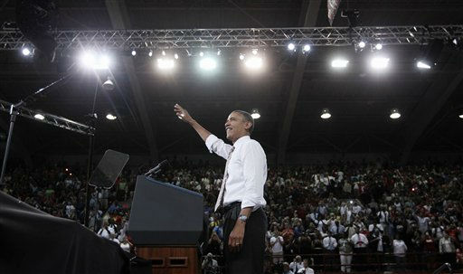 President Barack Obama waves on stage before speaking on his American Jobs Act legislation, Wednesday, Sept. 14, 2011, at North Carolina State University in Raleigh, N.C.  <span class=meta>(AP Photo&#47; Pablo Martinez Monsivais)</span>