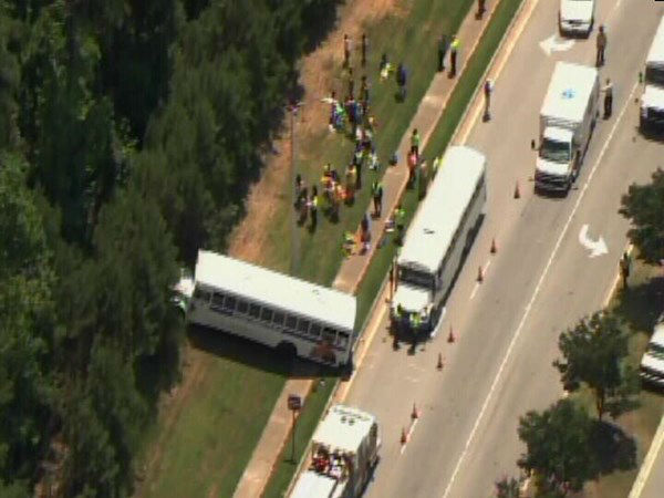 A YMCA bus was involved in an accident Wednesday afternoon at NW Cary Parkway and Evans Road. <span class=meta>(WTVD Photo)</span>