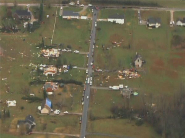 Roofs were torn off homes and belongings scattered by the storms. <span class=meta>(WTVD Photo&#47; Chopper 11 HD)</span>