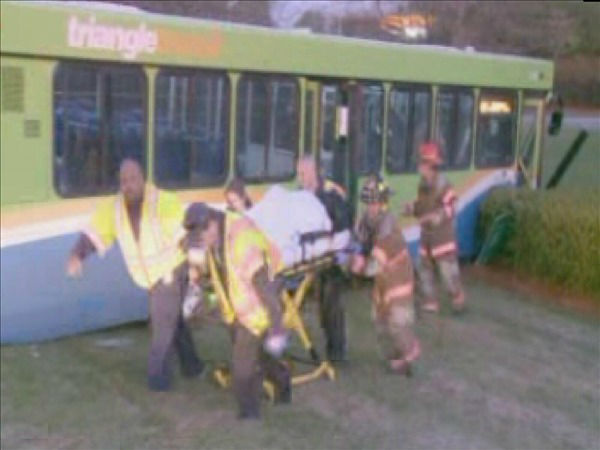 A public bus collided with a truck in Durham Wednesday morning <span class=meta>(WTVD Photo)</span>