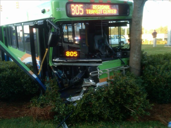 A public bus collided with a truck in Durham Wednesday morning <span class=meta>(WTVD Photo&#47; Jim Schumacher)</span>