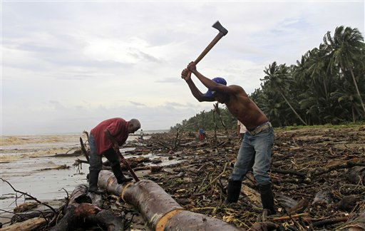 "<div class=""meta ""><span class=""caption-text "">Residents cut a tree trunk while cleaning a beach from debris after the passing of Hurricane Irene in Nagua, in the northern coast of the Dominican Republic, Tuesday, Aug. 23, 2011. (AP Photo/ Roberto Guzman)</span></div>"