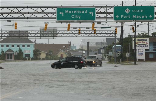A NOAA storm vehicle turns around because of flood waters in Atlantic Beach, N.C., Saturday, Aug. 27, 2011 <span class=meta>(AP Photo&#47; Chuck Burton)</span>