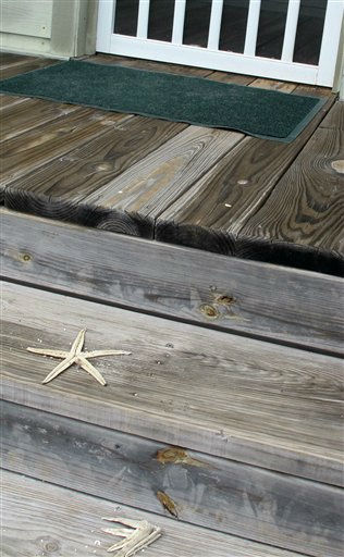 Two starfish are seen on the upper deck of a house in Pawleys Island, S.C. on Saturday, Aug. 26, 2011. Hurricane Irene washed the starfish onto the steps about 15 feet above the beach.  <span class=meta>(AP Photo&#47; Bruce Smith)</span>