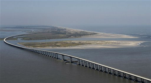 A new channel caused by Hurricane Irene is seen along the Oregon inlet north of the Bonner Bridge in Oregon Inlet, N.C., Sunday, Aug. 28, 2011.  <span class=meta>(AP Photo&#47; Steve Helber)</span>
