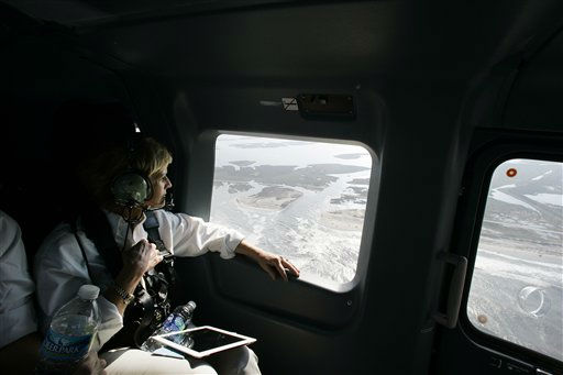 North Carolina Governor Bev Perdue surveys damage during an aerial tour of the area damaged by Hurricane Irene Sunday, Aug. 28, 2011 in Hatteras Island, N.C. <span class=meta>(AP Photo&#47; Jim R. Bounds)</span>