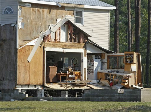 "<div class=""meta image-caption""><div class=""origin-logo origin-image ""><span></span></div><span class=""caption-text"">A destroyed home sits near the shoreline of the Pamilco River near Aurora, N.C., Sunday, Aug. 28, 2011 after Hurricane Irene hit the North Carolina coast.  (AP Photo/ Chuck Burton)</span></div>"