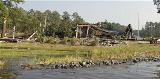 A destroyed home sits near the shoreline of the Pamilco River near Aurora, N.C., Sunday, Aug. 28, 2011 after Hurricane Irene hit the North Carolina coast. <span class=meta>(AP Photo&#47; Chuck Burton)</span>