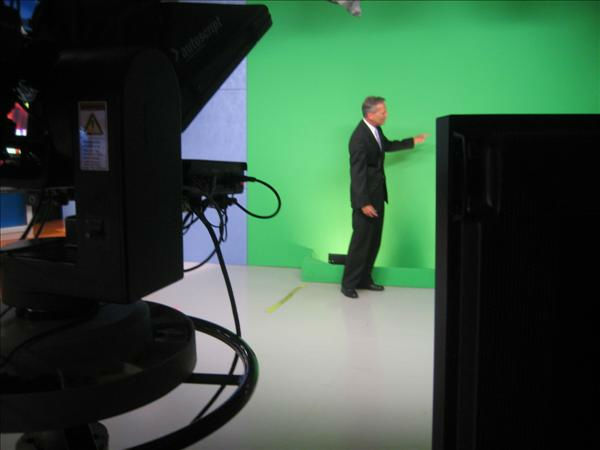 Chris at the &#34;green screen&#34; <span class=meta>(WTVD Photo&#47; Ian Slack)</span>