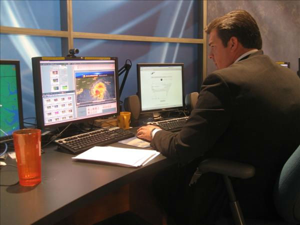 Don &#34;Big Weather&#34; Schwenneker checks the latest track. <span class=meta>(WTVD Photo&#47; Ian Slack)</span>