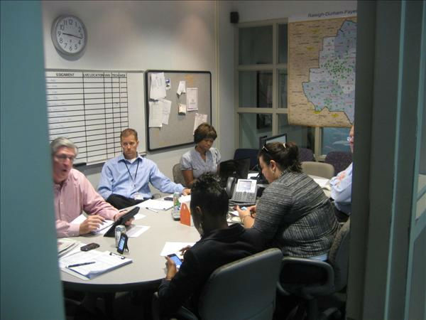 Don &#34;Big Weather&#34; Schwenneker briefs the morning editorial meeting on the latest storm track. <span class=meta>(WTVD Photo&#47; Ian Slack)</span>