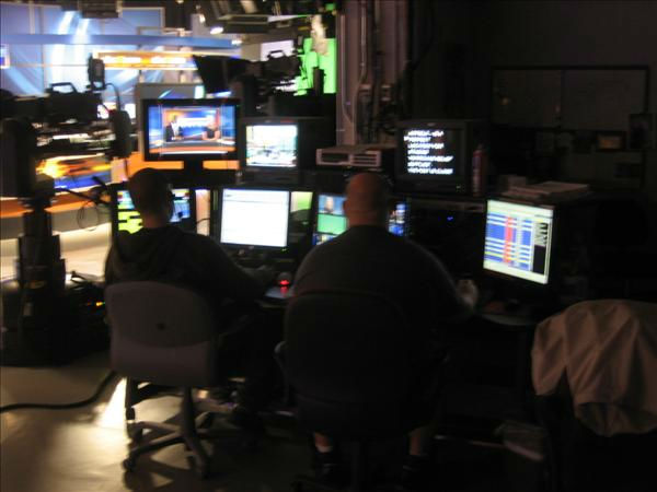 The floor crew checks the equipment in the Durham studio. <span class=meta>(WTVD Photo&#47; Ian Slack)</span>