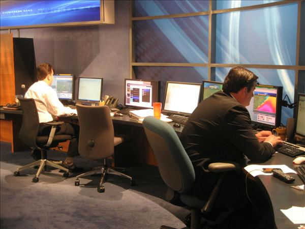 The weather team checks the latest storm track. <span class=meta>(WTVD Photo&#47; Ian Slack)</span>