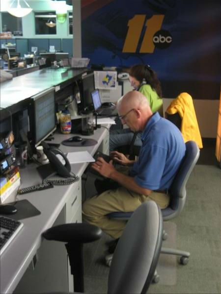 The assignment desk staff monitors the latest information from the coast. <span class=meta>(WTVD Photo&#47; Ian Slack)</span>