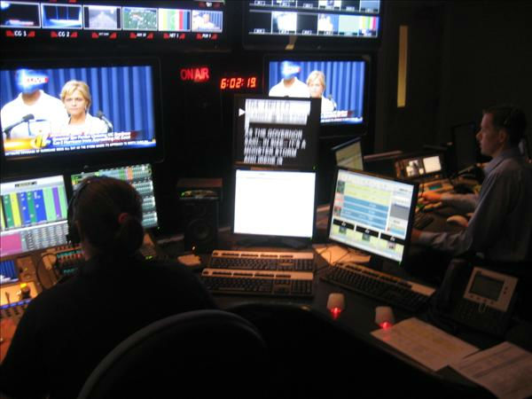 The control room at the ABC11 studio in Durham. <span class=meta>(WTVD Photo&#47; Ian Slack)</span>