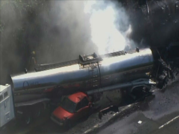 A truck burns on Interstate 85 Thursday morning...