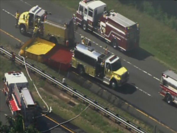 A huge crash on Interstate 85 triggered a fire Thursday morning. <span class=meta>(WTVD Photo&#47; Chopper 11 HD)</span>