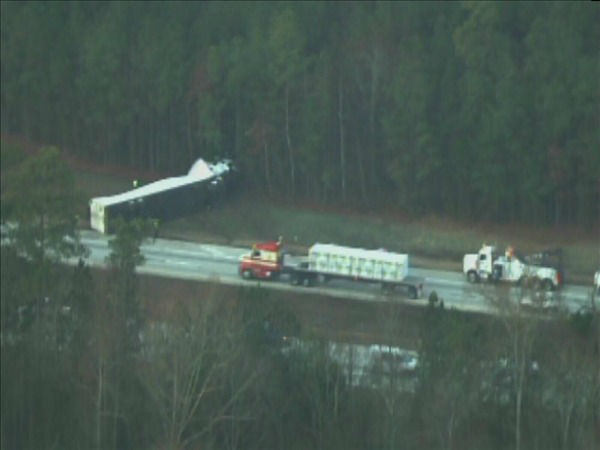 A crash involving a semi on I-40 east near White Oak Rd. in Garner slowed the morning commute Friday. <span class=meta>(WTVD Photo&#47; Chopper 11 HD)</span>