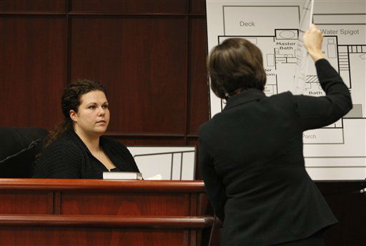 Meredith Fisher, sister of Michelle Young, is shown a diagram of the bedroom she found her sister&#39;s body in by Assistant District Attorney Becky Holt during Jason Young&#39;s retrial in Raleigh, N.C., on Monday, Feb. 6, 2012. <span class=meta>(AP Photo&#47; Shawn Rocco)</span>