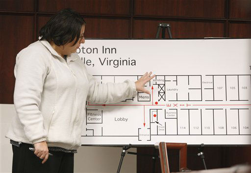 "<div class=""meta ""><span class=""caption-text "">Jennifer Marshall, general manager at the Hampton Inn in Hillsville, Virginia, describes the layout of the hotel during Jason Young's retrial on February 7, 2012.  (AP Photo/ Shawn Rocco)</span></div>"