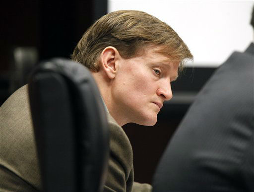 "<div class=""meta ""><span class=""caption-text "">Jason Young listens as Meredith Fisher, sister of Michelle Young, describes Michelle's relationship with him during his retrial on Tuesday, Feb. 7, 2012 in Raleigh, N.C. (AP Photo/ Shawn Rocco)</span></div>"