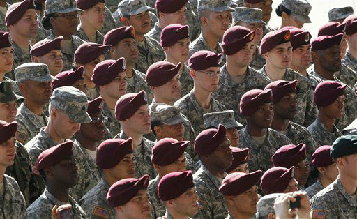 Troops listen as President Barack Obama speaks during a visit to Fort Bragg, N.C., Wednesday, Dec. 14, 2011.  <span class=meta>(AP Photo&#47; Gerry Broome)</span>
