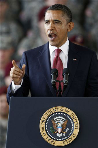 President Barack Obama speaks to troops at Fort Bragg, N.C., Wednesday, Dec. 14, 2011.  <span class=meta>(AP Photo&#47; Gerry Broome)</span>