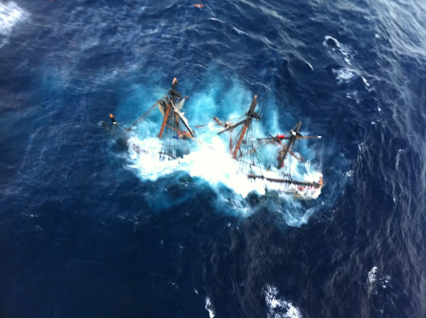 The wreck of the replica of the HMS Bounty seen from a Coast Guard helicopter. <span class=meta>(WTVD Photo&#47; Courtesy U.S. Coast Guard)</span>