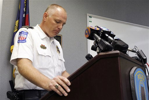 Hickory Police Chief Tom Adkins gathers his composure as he addresses the media during a news conference concerning the investigation for missing girl Zahra Clare Baker in Hickory, N.C., Tuesday, Oct. 12, 2010.  <span class=meta>(AP Photo&#47; Chuck Burton)</span>