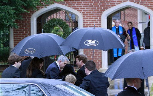 Former North Carolina senator and Democratic presidential candidate John Edwards and his family arrive for funeral services for Elizabeth Edwards at Edenton Street United Methodist Church in Raleigh, N.C., Saturday, Dec. 11, 2010. Edwards died Tuesday of cancer at the age of 61. <span class=meta>(AP Photo&#47; Gerry Broome)</span>