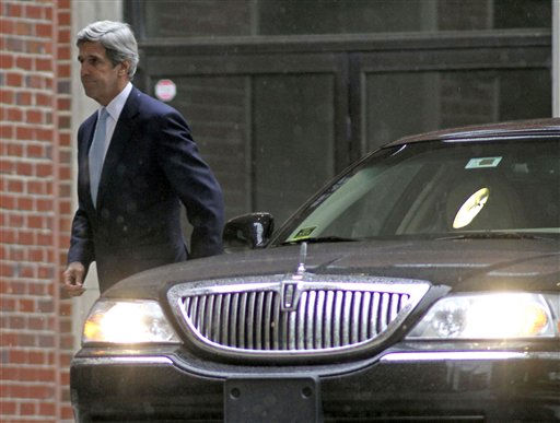 Sen. John Kerry, D-Mass. arrives for the funeral service for Elizabeth Edwards at Edenton Street United Methodist Church in Raleigh, N.C., Saturday, Dec. 11, 2010. Edwards, the estranged wife of former North Carolina senator and Democratic presidential candidate John Edwards, died Tuesday of cancer at the age of 61.  <span class=meta>(AP Photo&#47; Jim Bounds)</span>