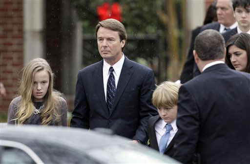 "<div class=""meta ""><span class=""caption-text "">Former Democratic presidential candidate John Edwards and his children, Emma Claire, left, Jack and Cate, far right, leave the funeral service for Elizabeth Edwards at Edenton Street United Methodist Church in Raleigh, N.C., Saturday, Dec. 11, 2010. Edwards died Tuesday of cancer at the age of 61.  (AP Photo/ Gerry Broome)</span></div>"