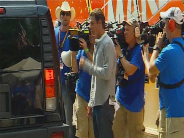 "<div class=""meta ""><span class=""caption-text "">Ty Pennington greets the Marshall family before their new home is revealed. (WTVD Photo/ Jim Shumacher)</span></div>"