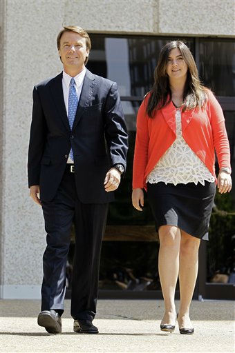 Former presidential candidate John Edwards walks with his daughter Cate following a court appearance in Winston-Salem, N.C. on Friday, June 3, 2011. A grand jury indicted the two-time presidential candidate, accusing him of trying to protect his political ambitions by soliciting and secretly spending more than &#36;925,000 to hide his mistress and their baby from the public.  <span class=meta>(AP Photo&#47; Gerry Broome)</span>