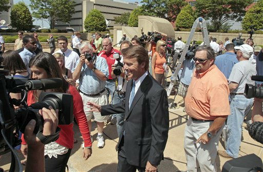 Former presidential candidate John Edwards is seen following a federal court appearance in Winston-Salem, N.C., Friday, June 3, 2011. A grand jury indicted the two-time presidential candidate, accusing him of trying to protect his political ambitions by soliciting and secretly spending more than &#36;925,000 to hide his mistress and their baby from the public. <span class=meta>(AP Photo&#47; Gerry Broome)</span>