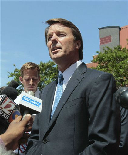 Former presidential candidate John Edwards outside federal court after appearance in Winston-Salem, N.C.  <span class=meta>(AP Photo&#47; Gerry Broome)</span>