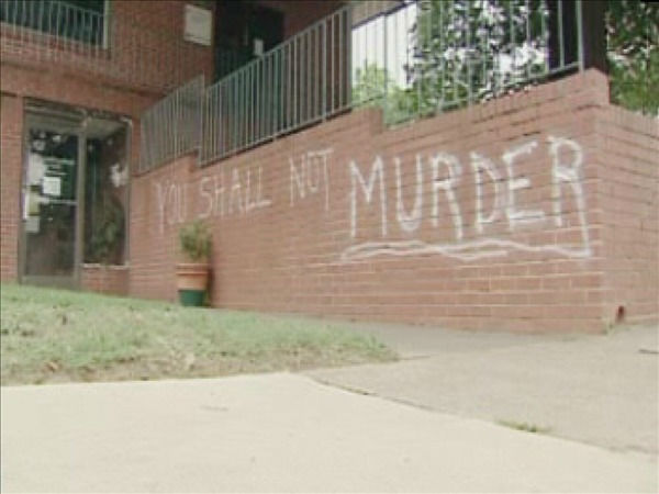 Anti-abortion messages spray-painted on walls outside the Raleigh Planned Parenthood office <span class=meta>(WTVD Photo&#47; Jeff Hinkle)</span>