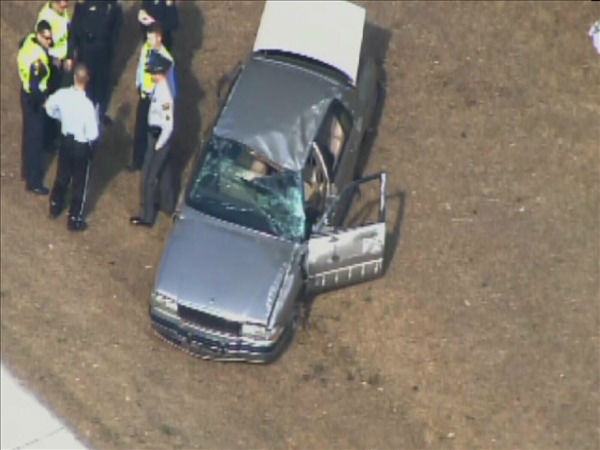 The vehicle ended up in the shoulder of the westbound lanes near White Oak Rd. <span class=meta>(WTVD Photo&#47; Chopper 11 HD)</span>
