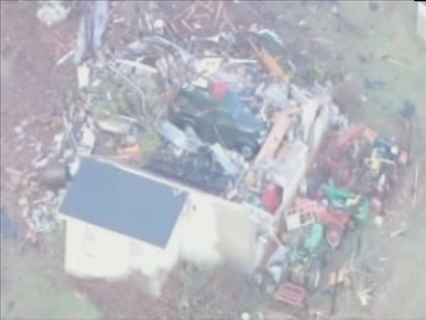 Some of the damage from Wednesday night&#39;s storms in western North Carolina <span class=meta>(Helicopter image courtesy WSOC-TV)</span>