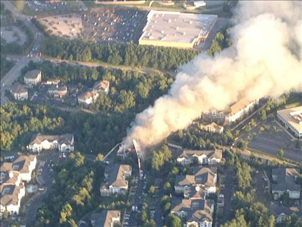 Fire ripped through part of the Camden Crest Apartments in the 5000 block of Manor Valley Court. <span class=meta>(WTVD Photo&#47; Blue Line Aviation)</span>