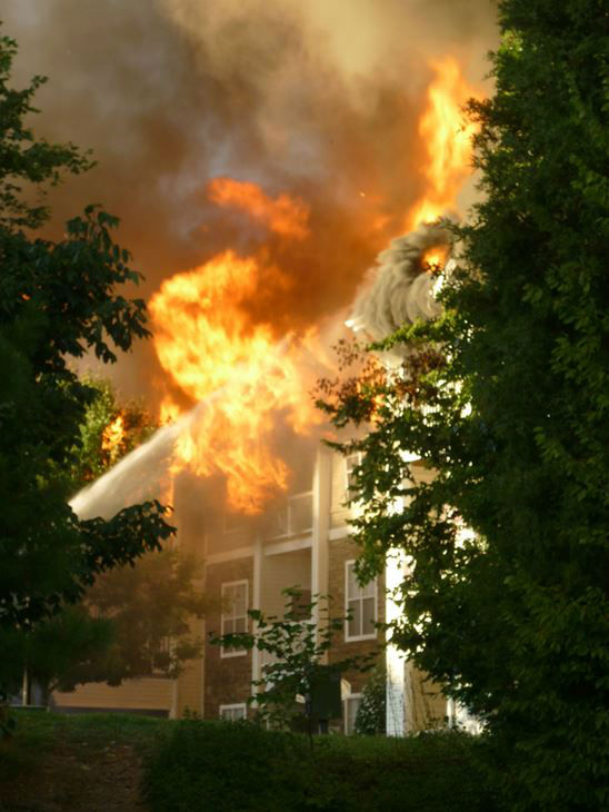 Fire ripped through part of the Camden Crest Apartments in the 5000 block of Manor Valley Court. <span class=meta>(WTVD Photo&#47; Mark Garloff)</span>