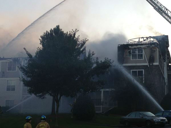 Fire ripped through part of the Camden Crest Apartments in the 5000 block of Manor Valley Court.