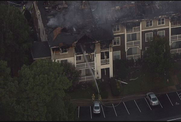 Fire ripped through part of the Camden Crest Apartments in the 5000 block of Manor Valley Court. <span class=meta>(WTVD Photo)</span>
