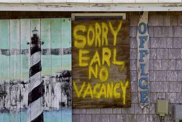 A window is boarded up with a message at the Buxton Beach Motel in Buxton, N.C., Wednesday, Sept. 1, 2010 as Hurricane Earl approaches North Carolina&#39;s Outer Banks.  <span class=meta>(AP Photo&#47; Gerry Broome)</span>