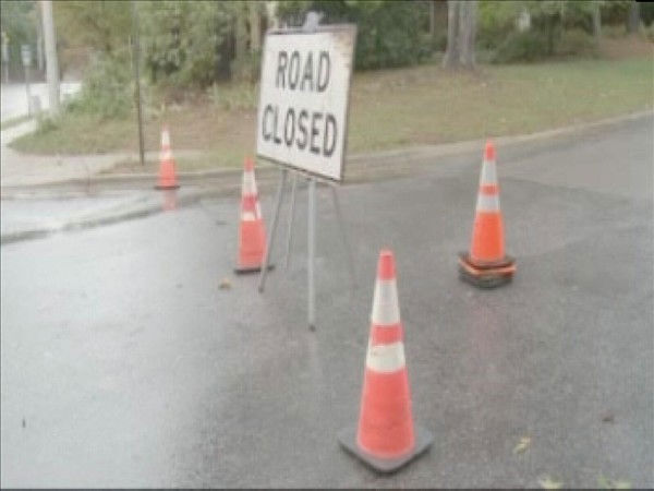 This road was closed in Cary by a fallen tree <span class=meta>(WTVD Photo&#47; Mat Mendez)</span>