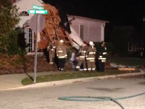 "<div class=""meta ""><span class=""caption-text "">The entire first floor of a Wake County home was destroyed overnight after a truck drove through it. (Photo/ABC11 Photojournalist Jeff Hinkle)</span></div>"